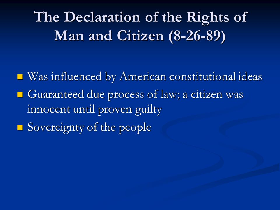 The Declaration of the Rights of Man and Citizen (8-26-89)