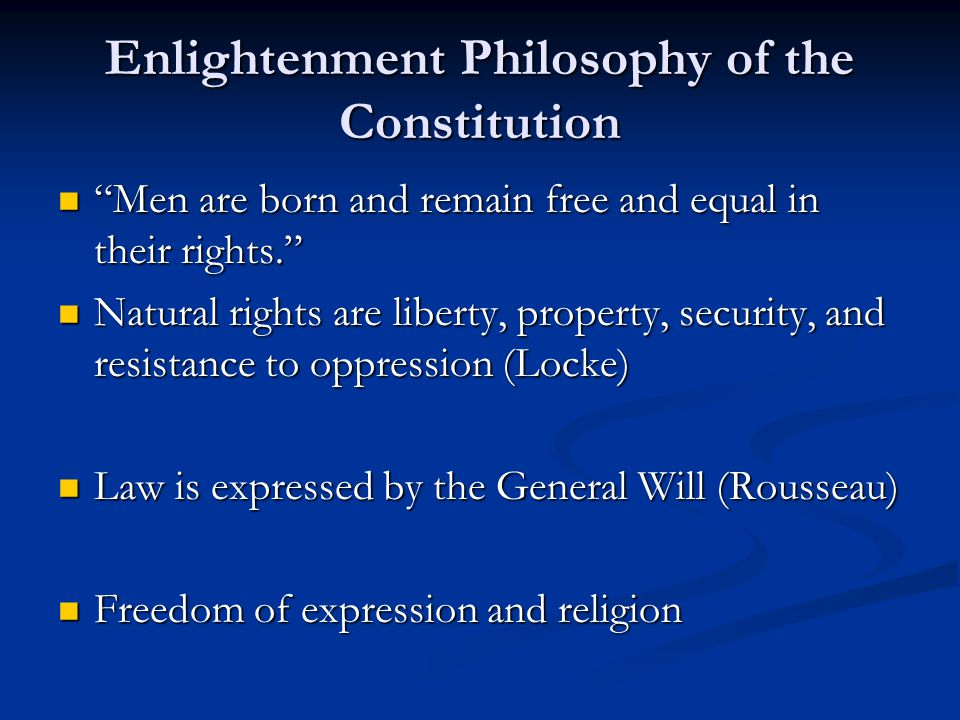 Enlightenment Philosophy of the Constitution