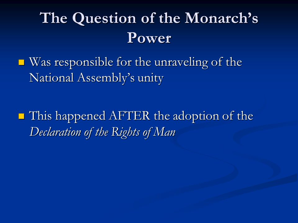 The Question of the Monarch's Power