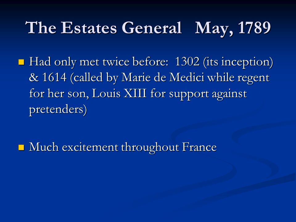 The Estates General May, 1789