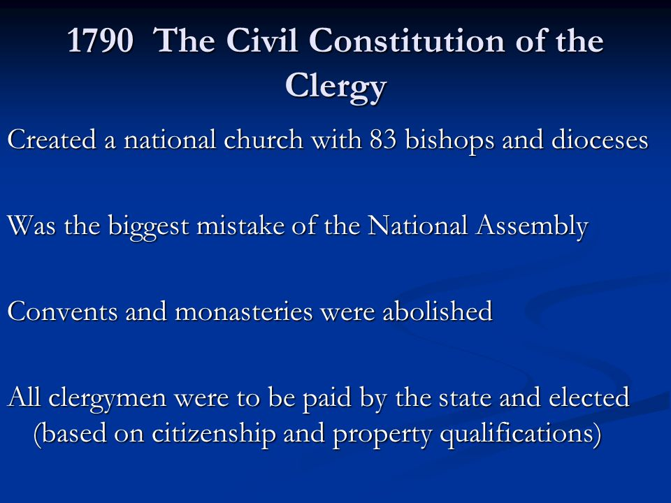 1790 The Civil Constitution of the Clergy