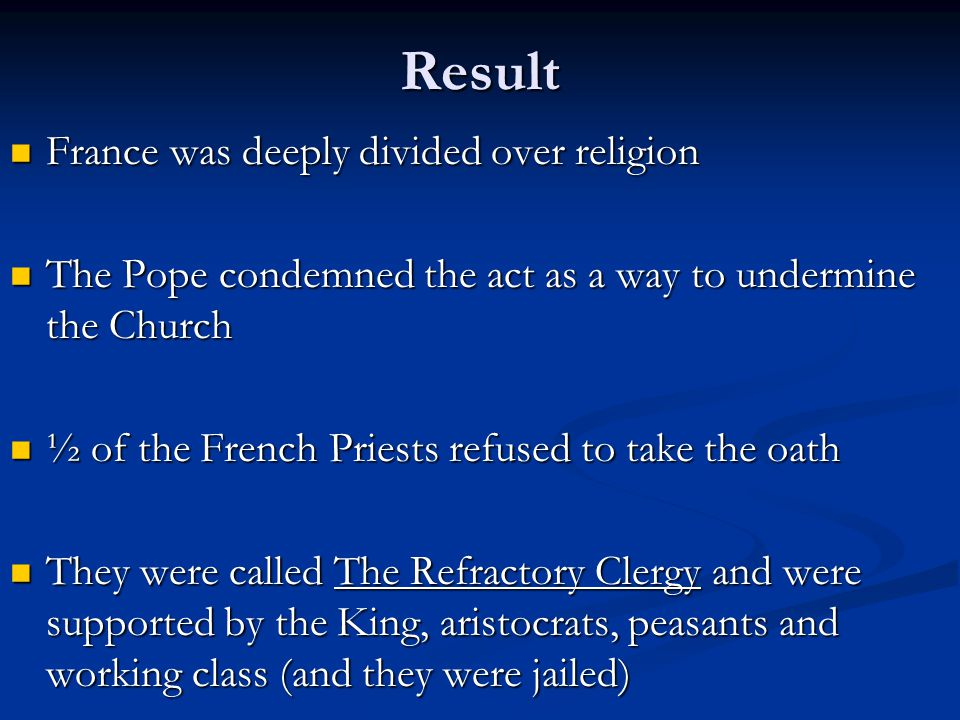 Result France was deeply divided over religion
