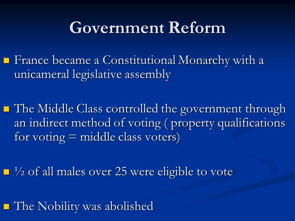 Government Reform France became a Constitutional Monarchy with a unicameral legislative assembly.
