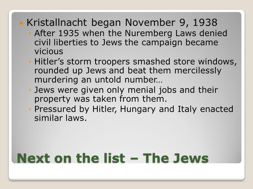 Next on the list – The Jews