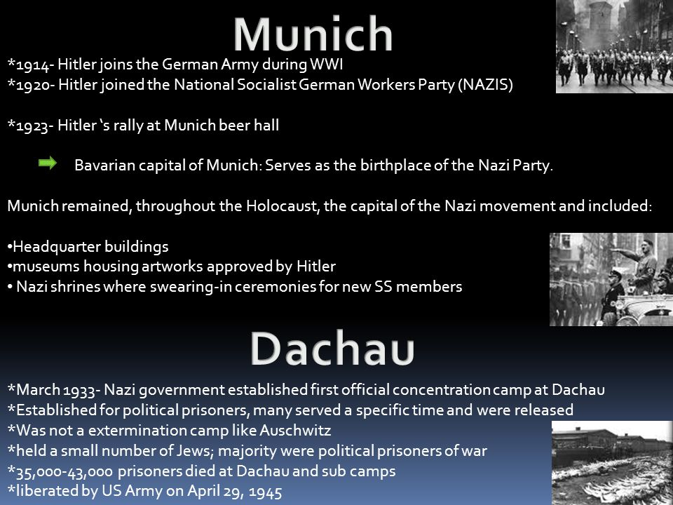 Munich Dachau *1914- Hitler joins the German Army during WWI