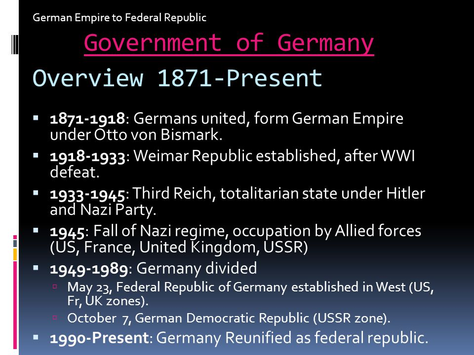 Government of Germany Overview 1871-Present