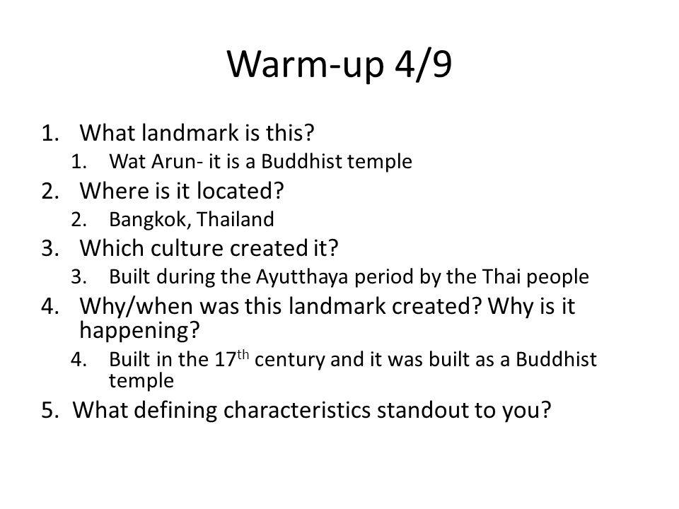 Warm-up 4/9 What landmark is this Where is it located