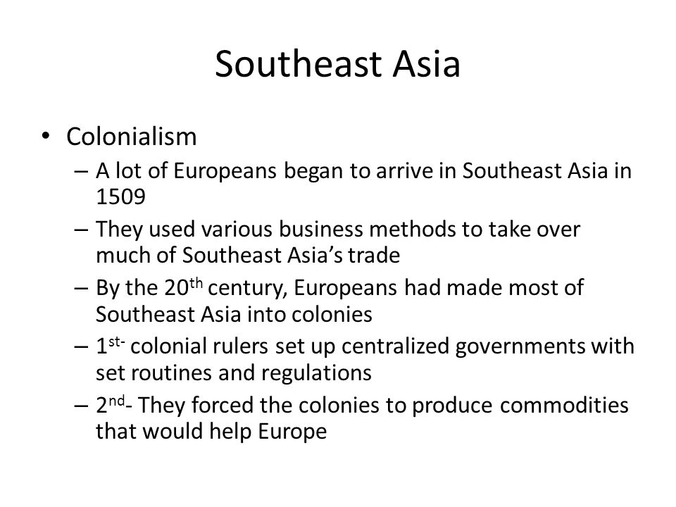 Southeast Asia Colonialism