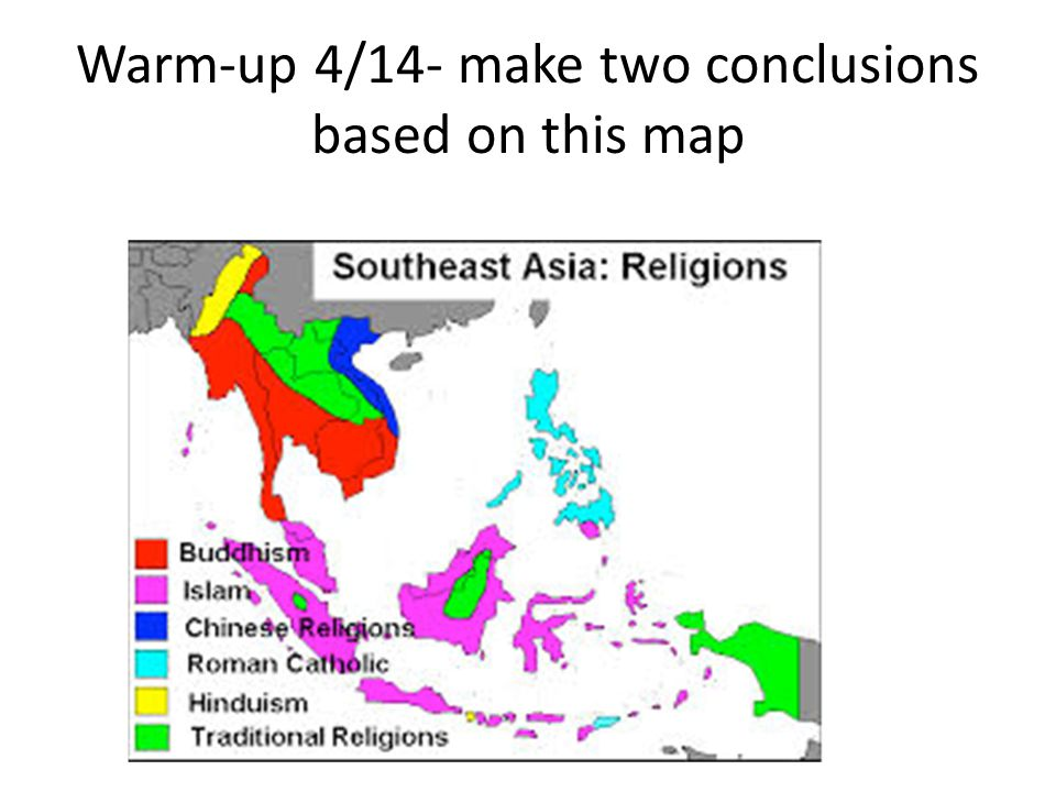 Warm-up 4/14- make two conclusions based on this map
