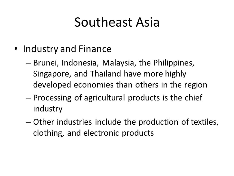 Southeast Asia Industry and Finance