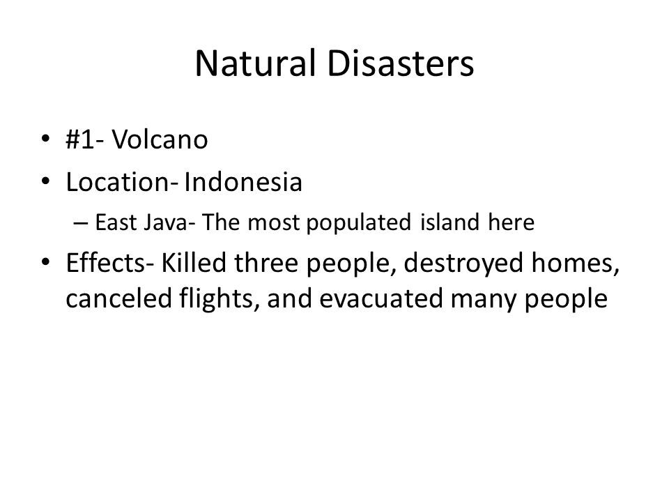 Natural Disasters #1- Volcano Location- Indonesia