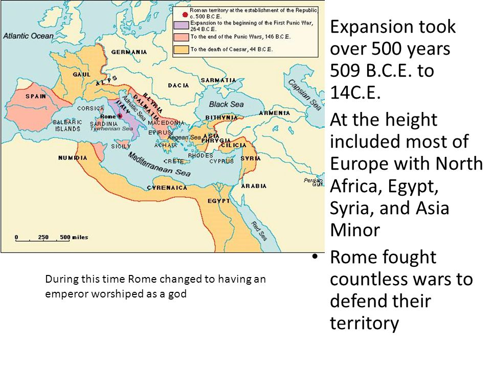 Expansion took over 500 years 509 B.C.E. to 14C.E.