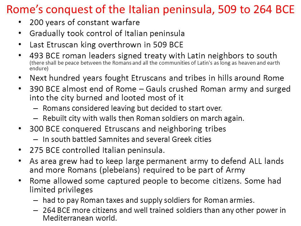 Rome's conquest of the Italian peninsula, 509 to 264 BCE