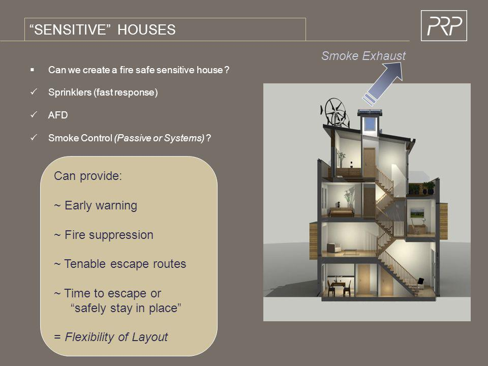 SENSITIVE HOUSES Smoke Exhaust Can provide: ~ Early warning