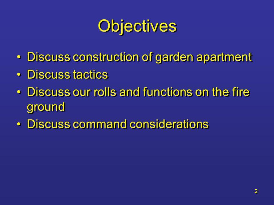 Objectives Discuss construction of garden apartment Discuss tactics