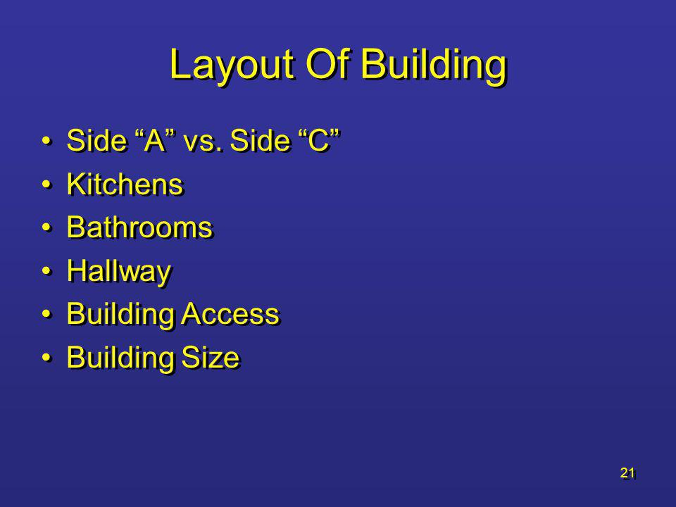 Layout Of Building Side A vs. Side C Kitchens Bathrooms Hallway
