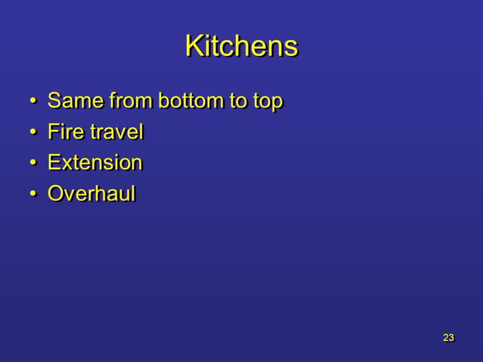 Kitchens Same from bottom to top Fire travel Extension Overhaul