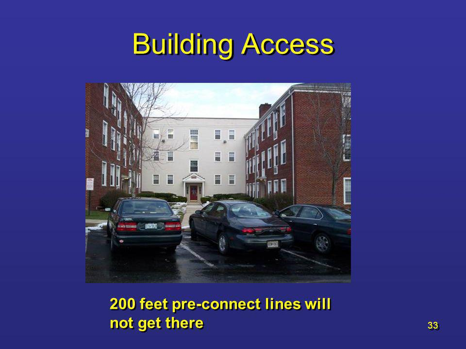 Building Access 200 feet pre-connect lines will not get there