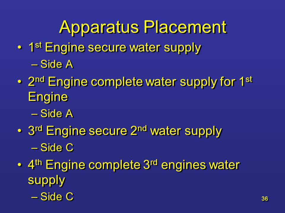 Apparatus Placement 1st Engine secure water supply
