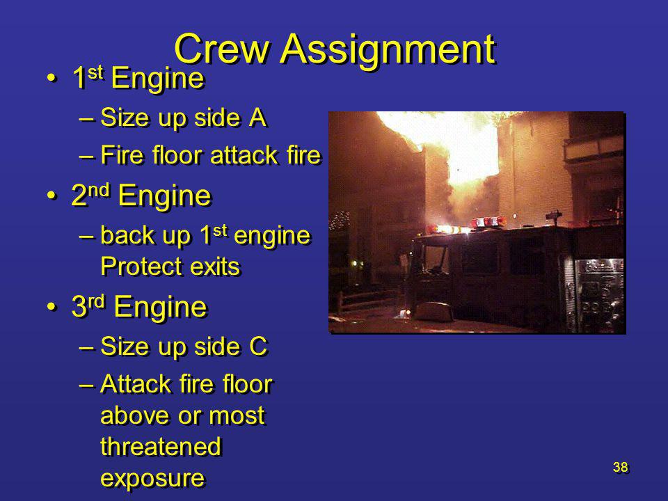 Crew Assignment 1st Engine 2nd Engine 3rd Engine Size up side A