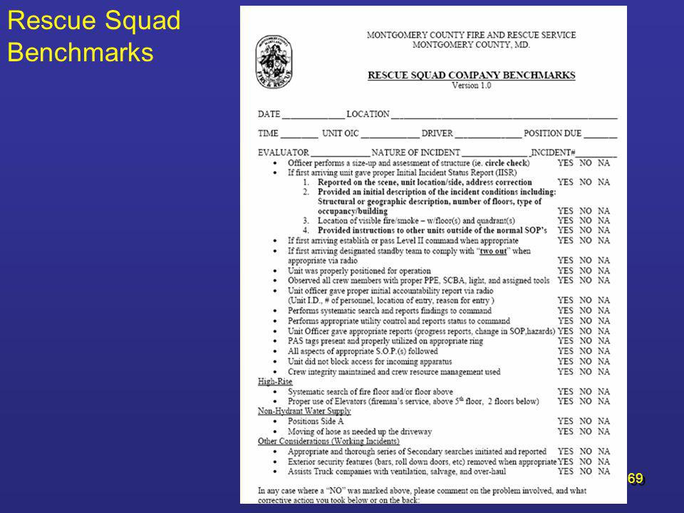 Rescue Squad Benchmarks