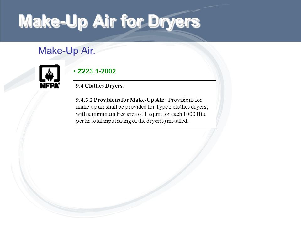 Make-Up Air for Dryers Make-Up Air. Z223.1-2002 9.4 Clothes Dryers.