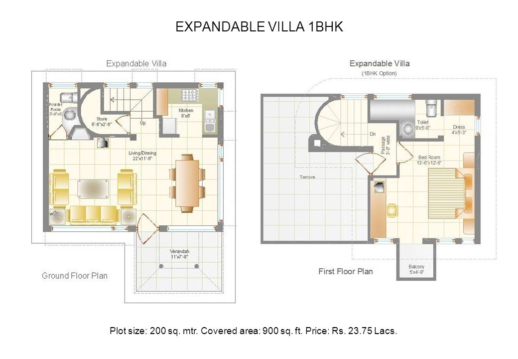 EXPANDABLE VILLA 1BHK Plot size: 200 sq. mtr. Covered area: 900 sq. ft. Price: Rs. 23.75 Lacs.