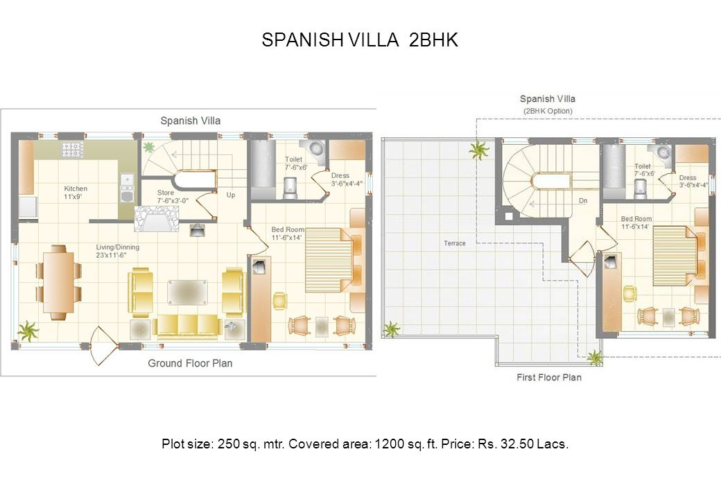 SPANISH VILLA 2BHK Plot size: 250 sq. mtr. Covered area: 1200 sq. ft. Price: Rs. 32.50 Lacs.