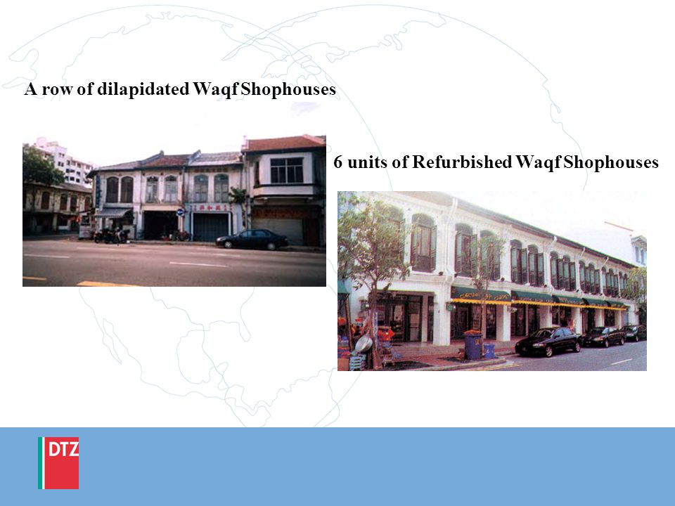 A row of dilapidated Waqf Shophouses