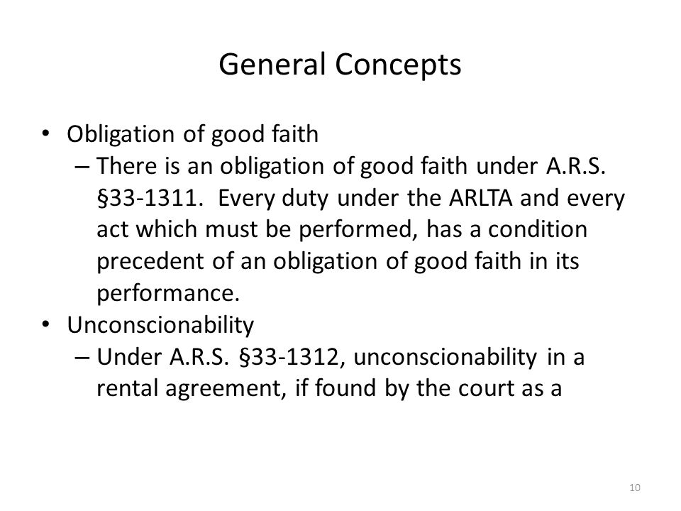 General Concepts Obligation of good faith