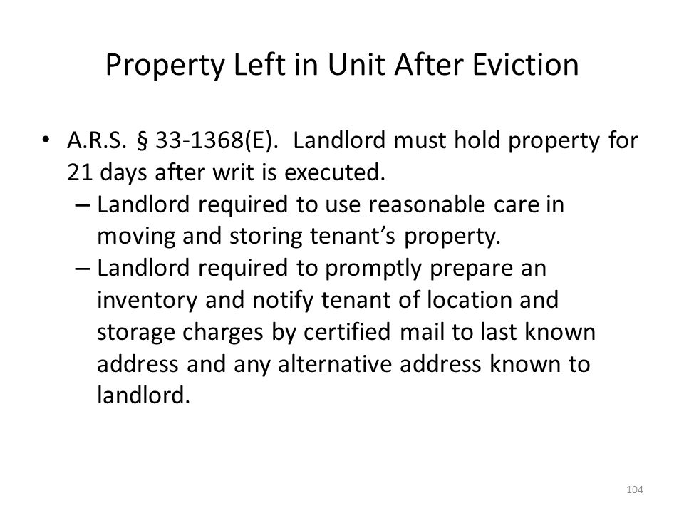 Property Left in Unit After Eviction