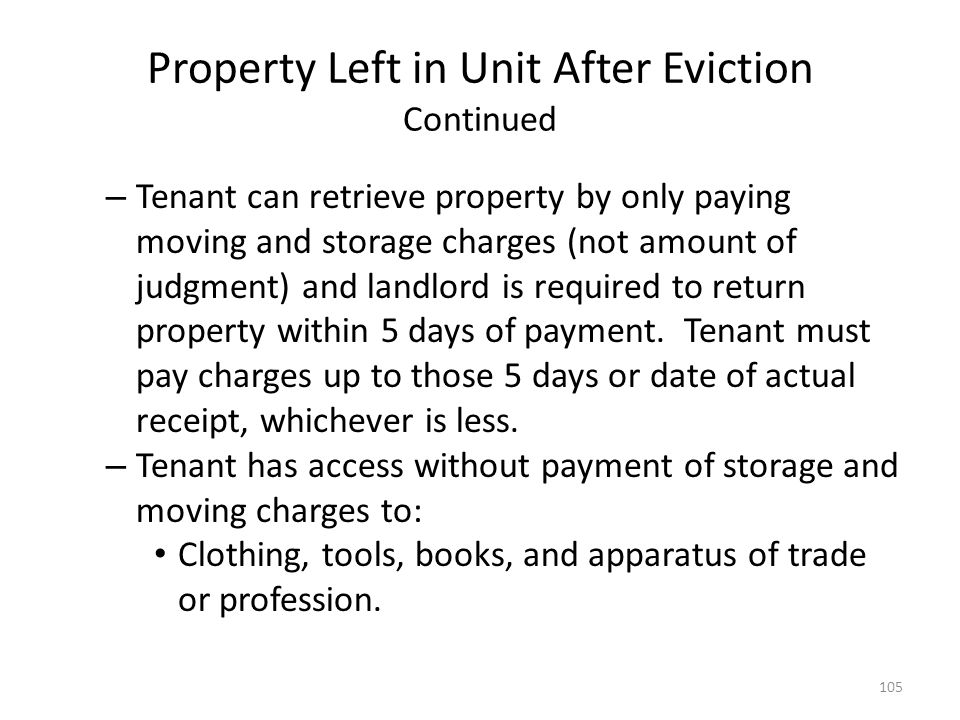 Property Left in Unit After Eviction Continued