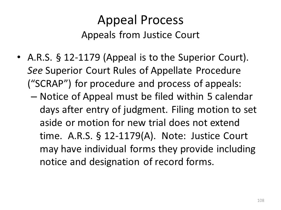 Appeal Process Appeals from Justice Court