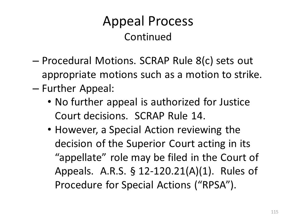 Appeal Process Continued