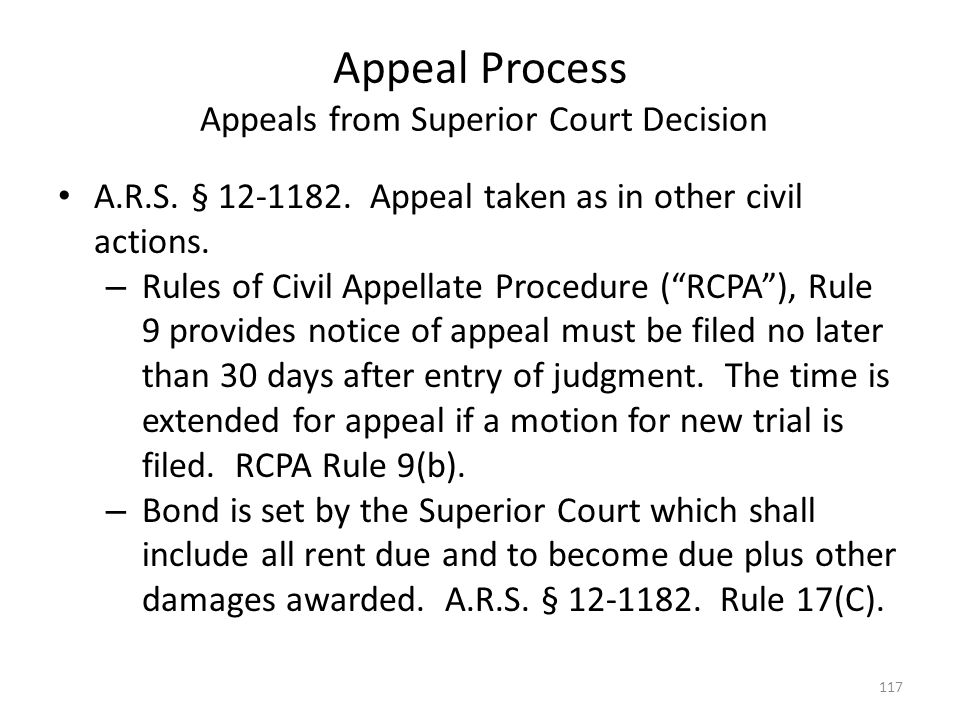 Appeal Process Appeals from Superior Court Decision