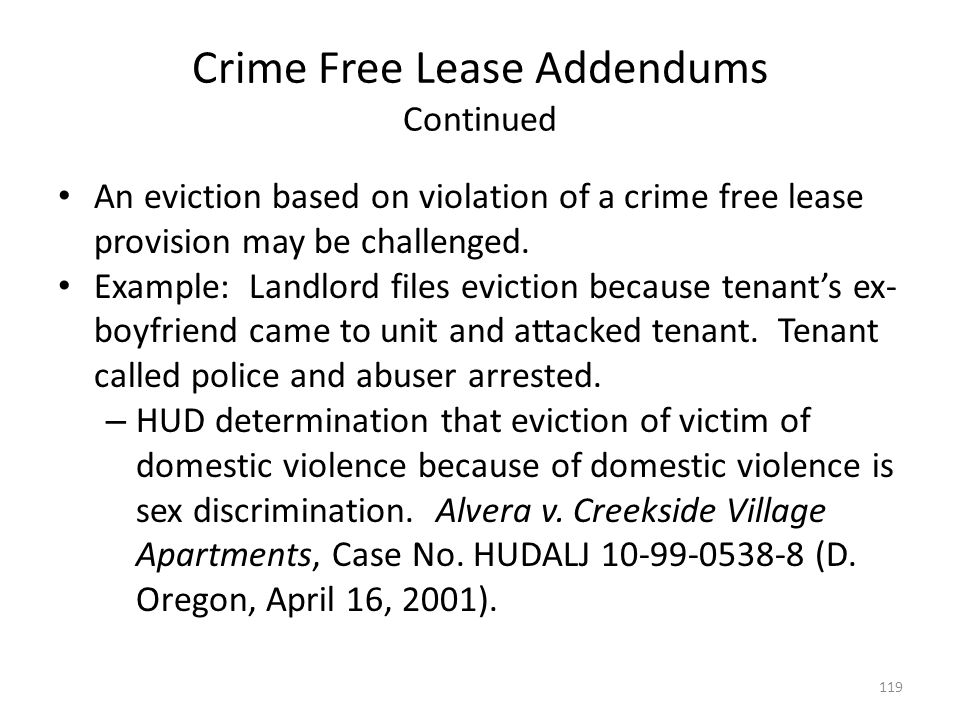 Crime Free Lease Addendums Continued