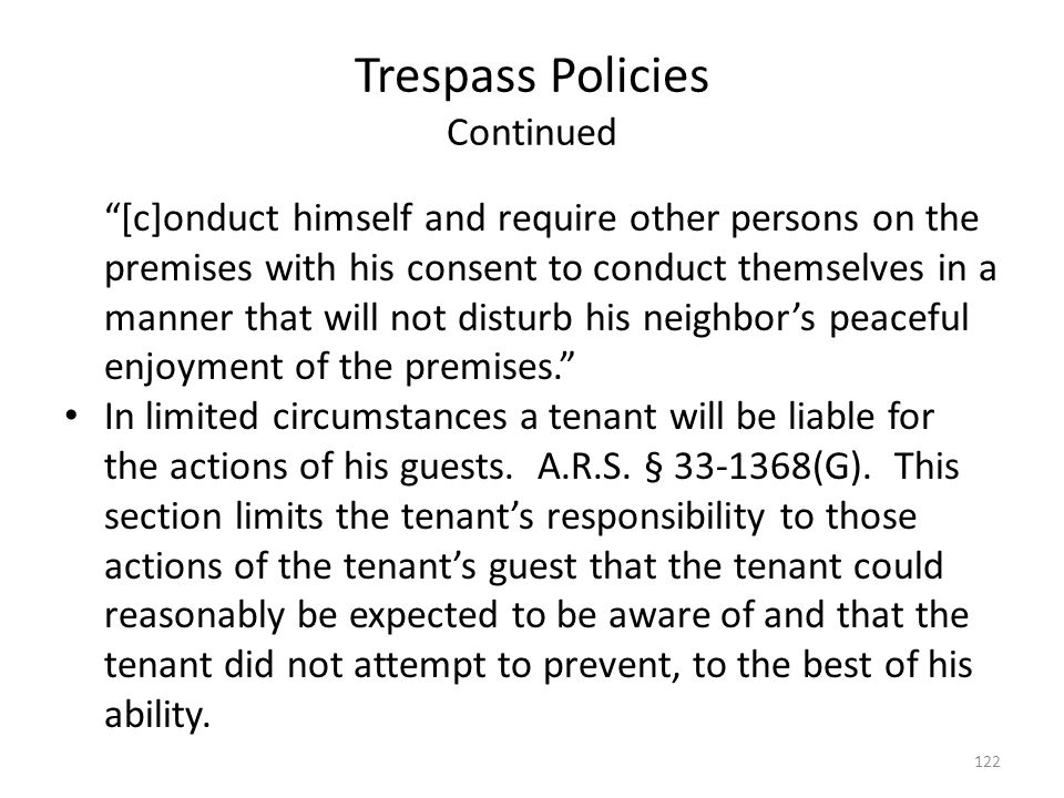 Trespass Policies Continued