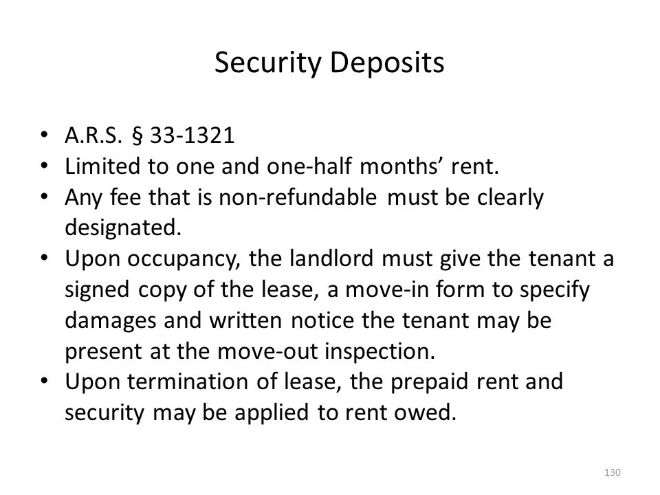 Security Deposits A.R.S. § 33-1321