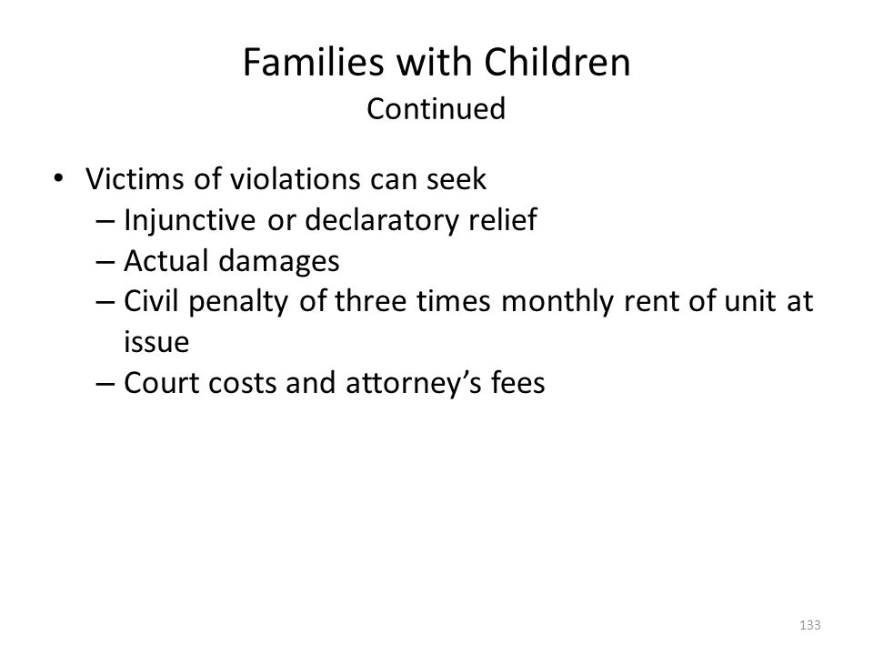 Families with Children Continued
