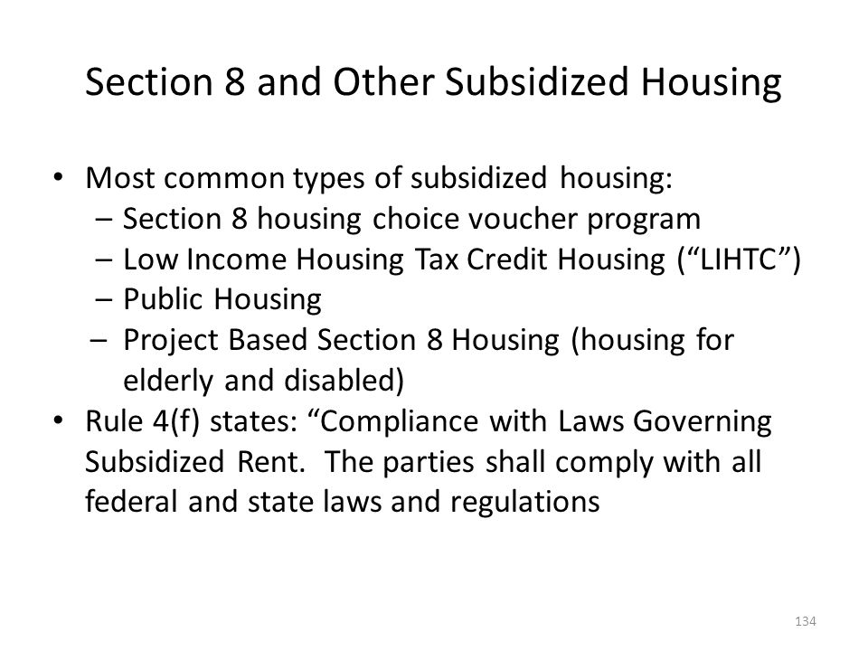 Section 8 and Other Subsidized Housing