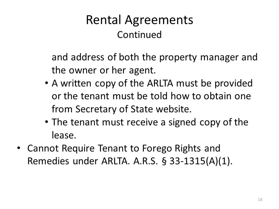 Rental Agreements Continued