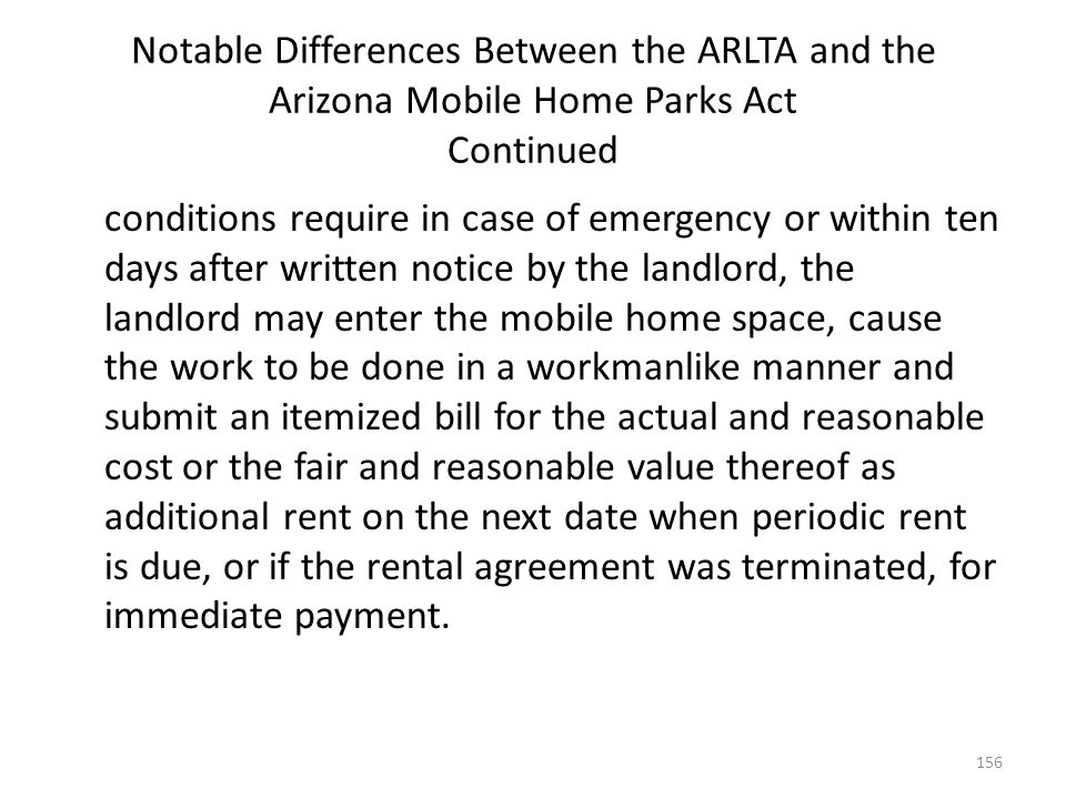 Notable Differences Between the ARLTA and the Arizona Mobile Home Parks Act Continued