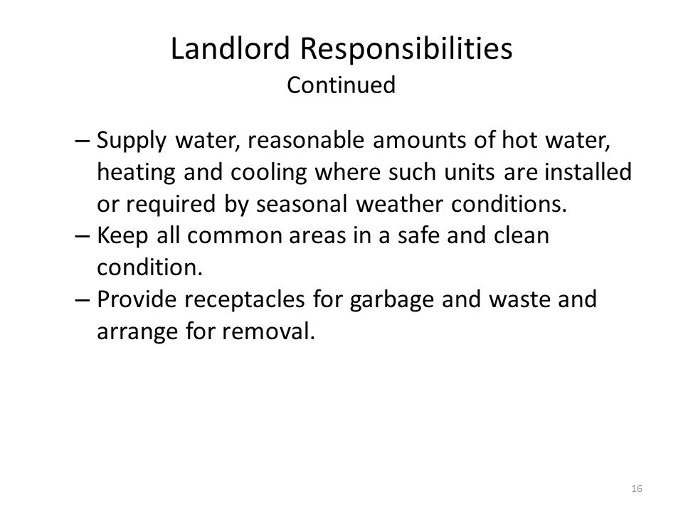 Landlord Responsibilities Continued
