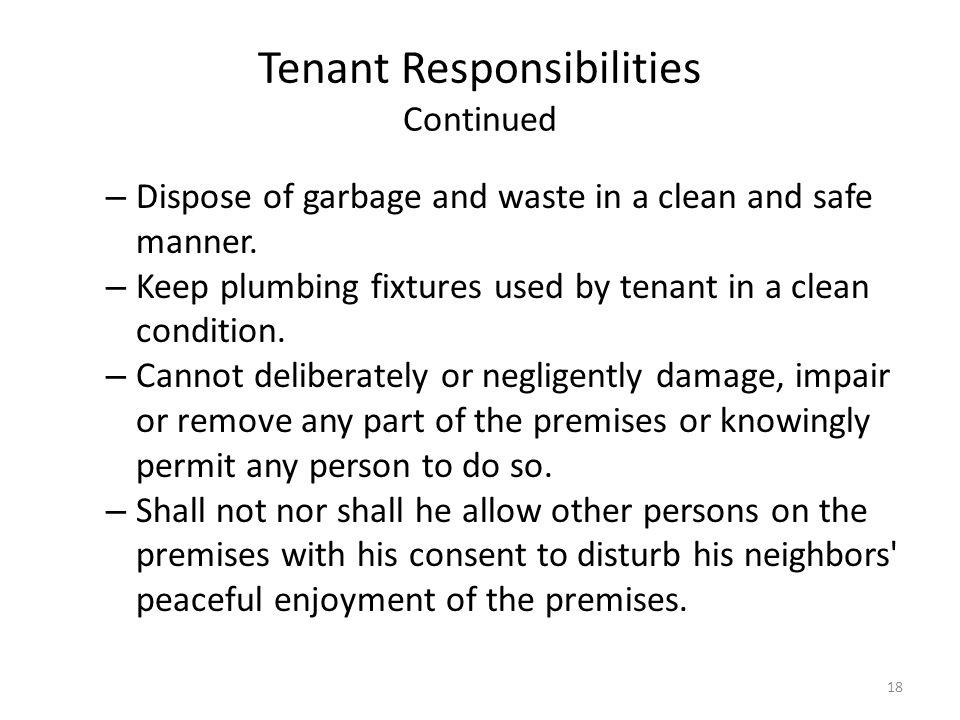 Tenant Responsibilities Continued