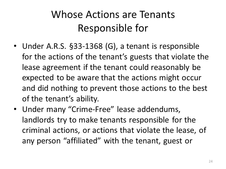 Whose Actions are Tenants Responsible for