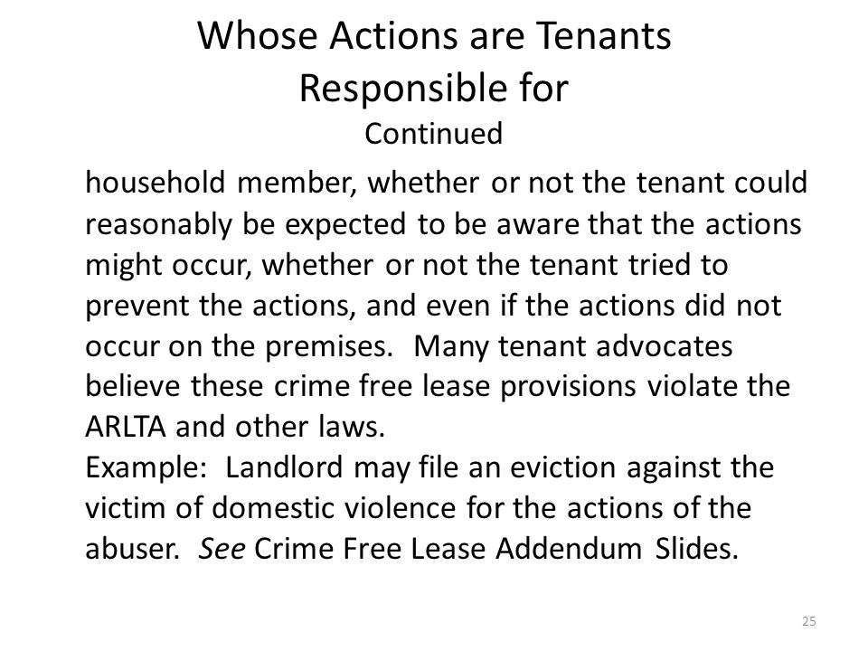 Whose Actions are Tenants Responsible for Continued
