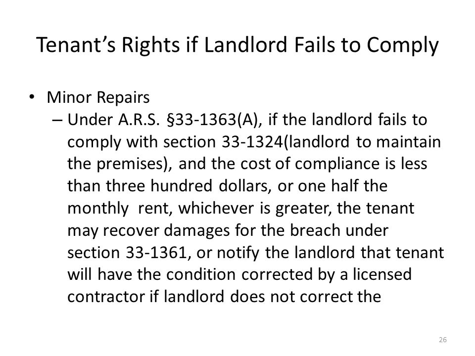 Tenant's Rights if Landlord Fails to Comply