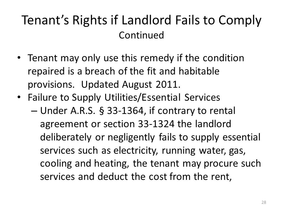 Tenant's Rights if Landlord Fails to Comply Continued