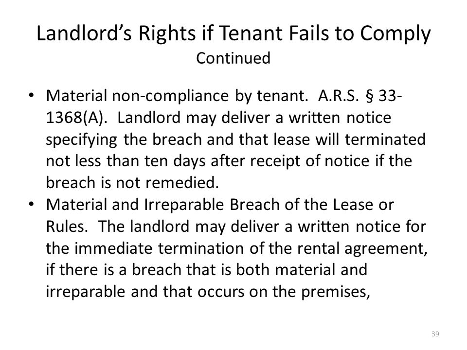 Landlord's Rights if Tenant Fails to Comply Continued