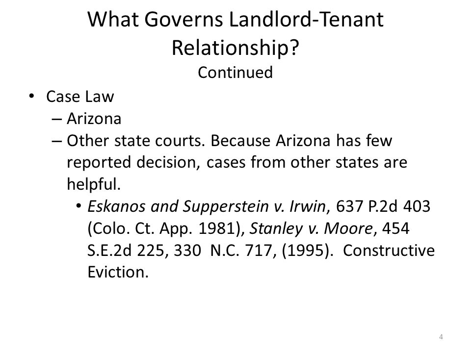 What Governs Landlord-Tenant Relationship Continued